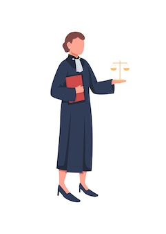 Personaggio senza volto di colore piatto giudice femminile. legge, giustizia. corte suprema. donna con scale. tribunale legale. illustrazione del fumetto isolata prova del tribunale per web design grafico e animazione