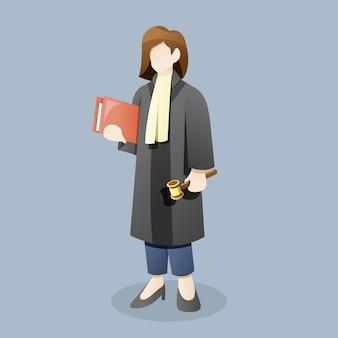 Il giudice o l'avvocato femminile porta il martelletto della tenuta del documento