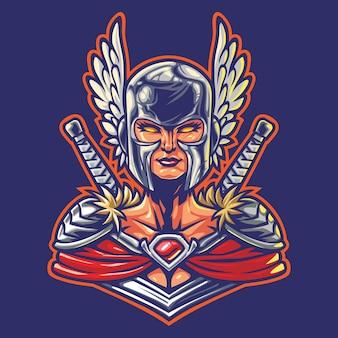 Illustrazione del logo esport femminile del cavaliere eroe