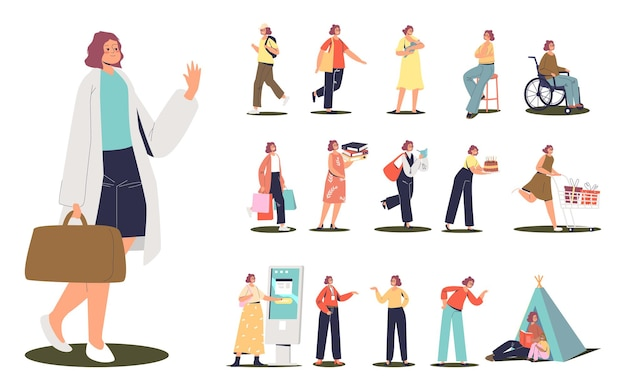 Set di stile di vita femminile: studio di una giovane donna, su sedia a rotelle, trascorrere del tempo con i bambini, trasportare borse della spesa, regali, prendersi cura di un neonato, parlare al telefono cellulare. cartoon piatto illustrazione vettoriale