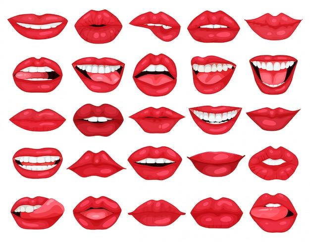 Icona stabilita del fumetto del labbro femminile. sorriso dell'illustrazione su fondo bianco. icona stabilita del fumetto labbro femmina.