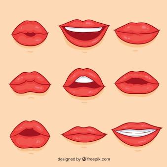Collezione labbra femminili con stile 2d