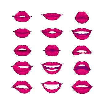 Illustrazione isolata labbra femminili.