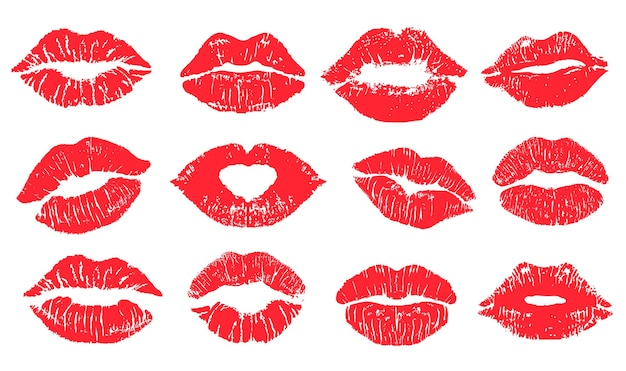 Insieme della stampa del bacio del rossetto delle labbra femminili