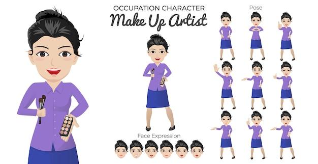 Set di caratteri di artista di trucco femminile con varietà di posa ed espressione del viso