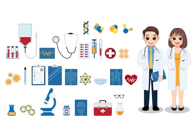 Dottoressa e dottore in piedi insieme ed elemento sanitario