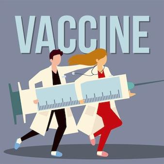 Medico femminile e maschio con illustrazione di vaccinazione e trattamento con siringa