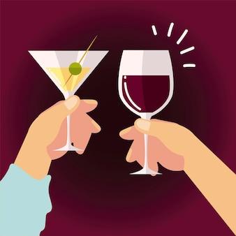 Mani femminili e maschili con alcol vino champagne, illustrazione acclamazioni