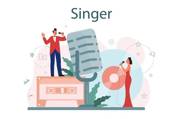 Concetto di cantante femminile e maschile. esecutore che canta con il microfono. spettacolo musicale, performance sonora. illustrazione vettoriale in stile piatto