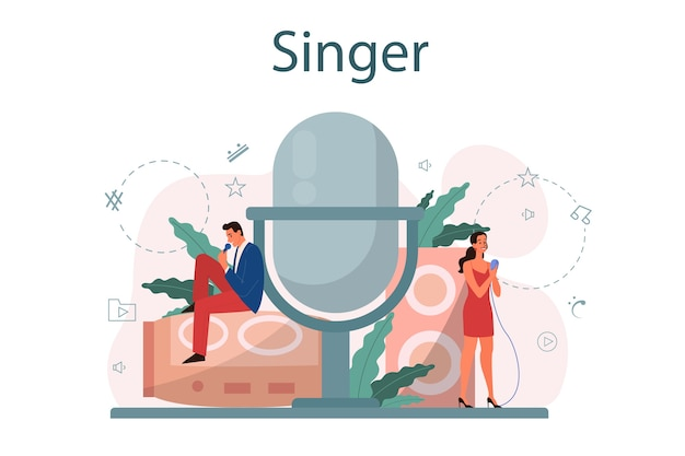 Concetto di cantante femminile e maschile