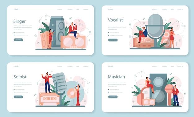 Set di pagine di destinazione web cantante femminile e maschile. esecutore che canta con il microfono. spettacolo musicale, performance sonora. illustrazione vettoriale in stile piatto