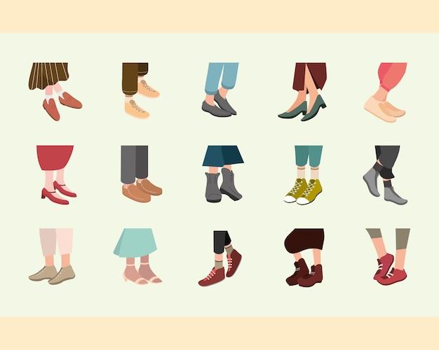 Set di simboli di scarpe alla moda femminili e maschili, abbigliamento in stile moda di stoffa e illustrazione a tema negozio