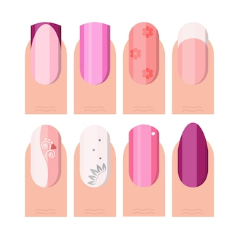 Set manicure femminile. stile french manicure come icone impostate a colori