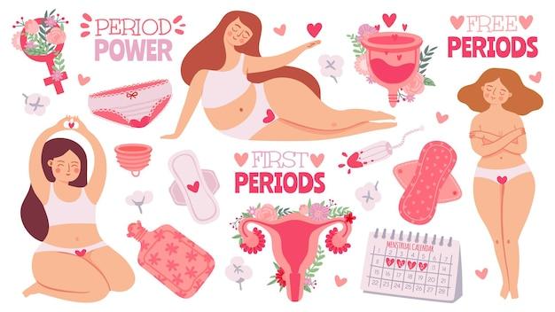 Le mestruazioni femminili. donne con tampone mestruale e prodotto per l'igiene, assorbenti igienici e coppetta mestruale. grembo del fumetto, insieme di vettore. primo periodo mestruale, illustrazione del tampone accessorio mestruale