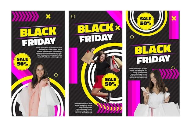 Storie di instagram di venerdì nero modello femminile