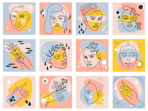Manifesti astratti moderni femminili. ritratto di una donna di una linea, volti e mani che tengono fiori e foglie. insieme di vettore di arte moda bellezza alla moda. opere d'arte naturali nella collezione di colori pastello