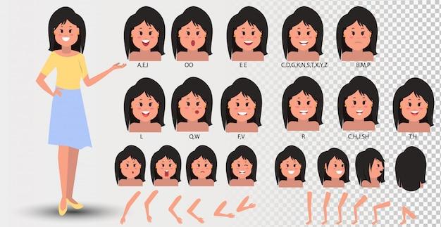 Animazione della bocca femminile. womans parla con la bocca per l'animazione del personaggio dei cartoni animati e la pronuncia inglese. sincronizza gli elementi facciali dell'espressione vocale impostati per parlare e riprodurre l'alfabeto sonoro