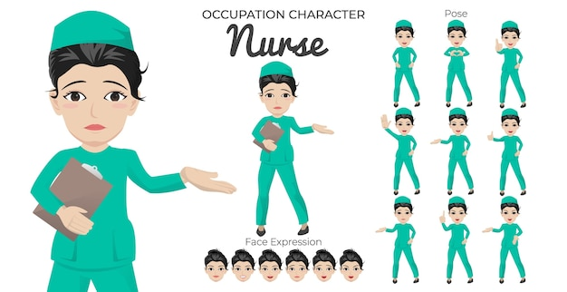 Set di caratteri infermiera femminile con varietà di posa ed espressione del viso
