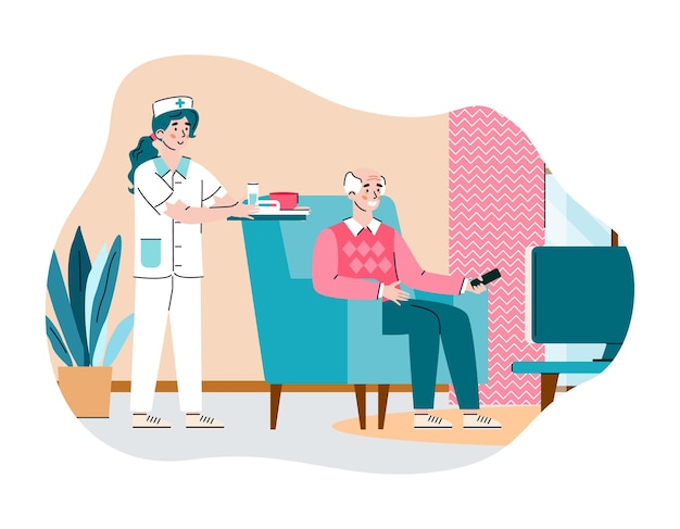 Infermiera che si prende cura di un uomo anziano nella casa di cura un'illustrazione
