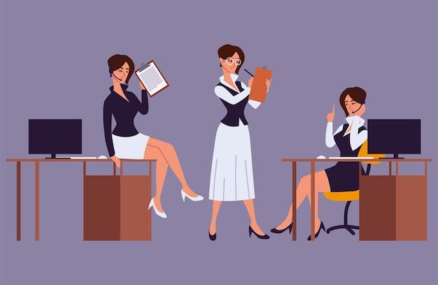 Assistente d'ufficio femminile che lavora