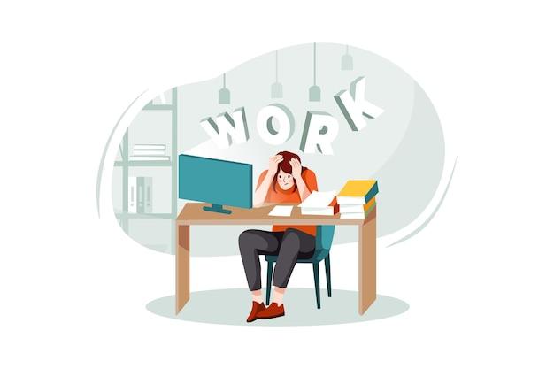 Impiegati femminili pressione a causa del lavoro