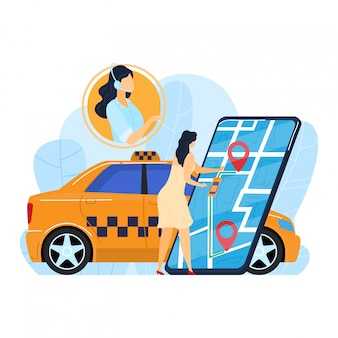 Taxi online di ordine femminile, servizio mobile di app di internet di uso del carattere minuscolo della donna isolato su bianco, illustrazione del fumetto.