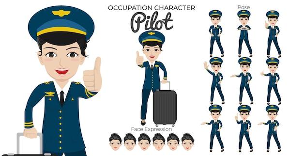 Set di caratteri pilota femminile con varietà di pose ed espressioni del viso