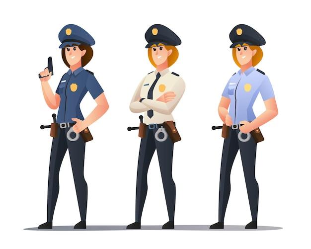 Set di personaggi dell'ufficiale di polizia femminile