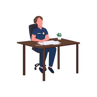 Agente di polizia femminile al carattere senza volto di colore piatto scrivania. detective compilare rapporto legale. illustrazione del fumetto isolata dipartimento delle forze dell'ordine per web design grafico e animazione