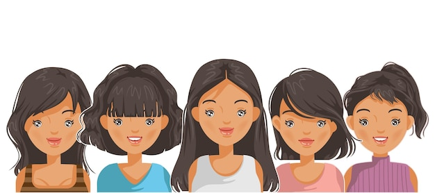 Volto ritratto femminile e acconciatura per la pubertà in stile ragazza asiatica