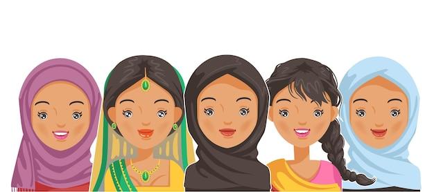 Volto ritratto femminile e acconciatura per la pubertà islam stile ragazze musulmane e indiane