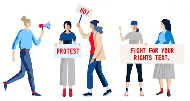 Protesta femminile gruppo di donne manifestanti e attivisti.
