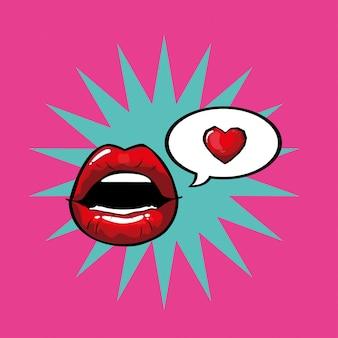 Bocca femminile e rossa pop art con bolla di esplosione e vettore di cuore