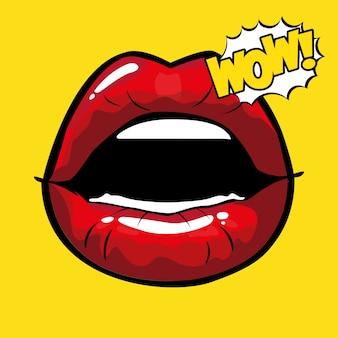 Bocca femminile e rossa pop art con wow esplosione vettoriale