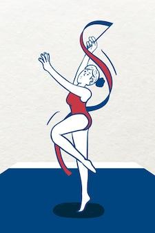 Vettore del personaggio del giocatore di ginnastica ritmica femminile