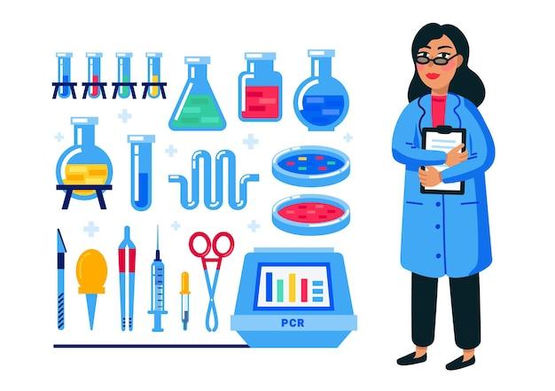 Scienziato femminile e set di attrezzature di laboratorio