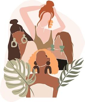 Sagoma di forma femminile su sfondo tropicale retrò ritratto di donna astratta in colori pastello