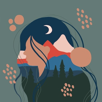 Silhouette femminile con paesaggio di montagna come sfondo concetto di viaggio e avventura