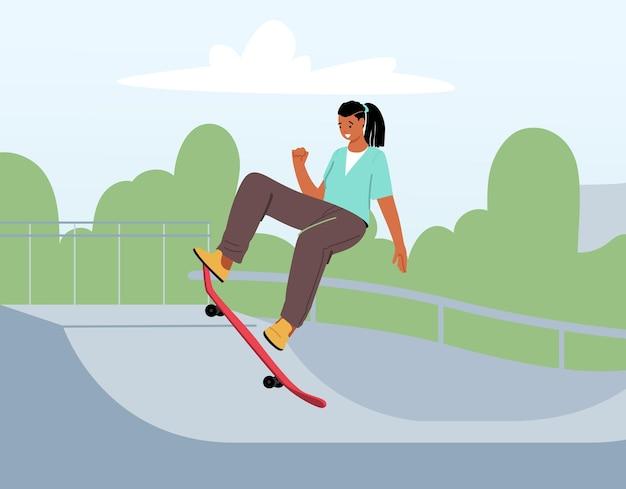 Il personaggio femminile dello skateboard esegue acrobazie in rollerdrome. adolescente pattinante alla moda che salta ad alta velocità a bordo