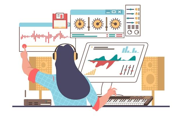 Designer del suono femminile, ingegnere che indossa le cuffie che crea, registra musica, illustrazione vettoriale piatta. studio di produzione del suono.