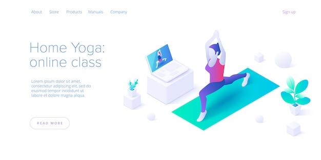 Femmina che sta a casa. lezione online di yoga in pilates pongono in disegno vettoriale isometrico. concetto per il benessere o uno stile di vita sano con la donna che esercita nella posizione del loto. layout del banner web.