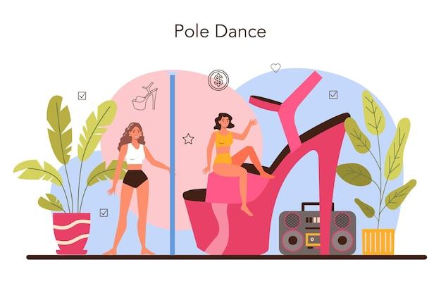 Concetto di spogliarellista femminile. pole dance donna in discoteca, spogliarellista