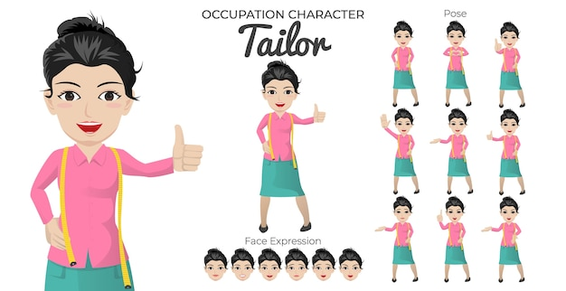 Set di caratteri femminili su misura con varietà di pose ed espressioni del viso
