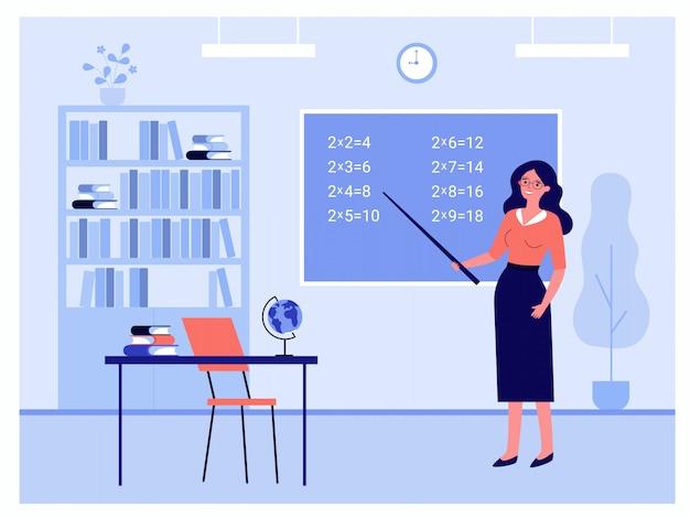 Insegnante femminile in piedi vicino alla lavagna