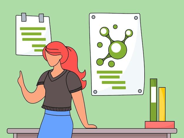 Insegnante femminile o studente in aula vicino al tavolo con libri e poster di informazioni chimiche