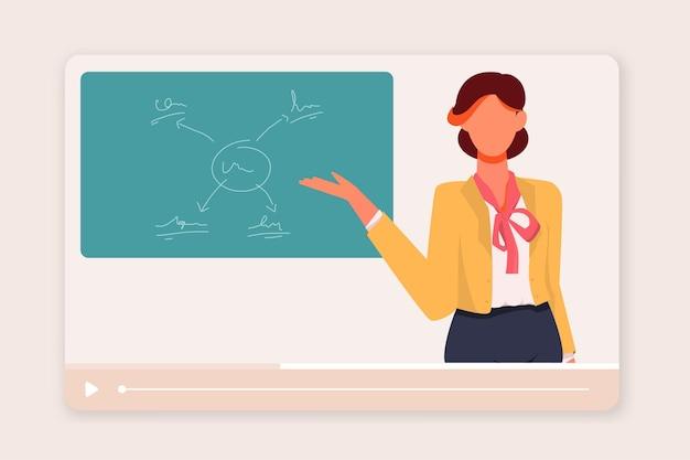 Insegnante femminile che insegna concetto di classe online