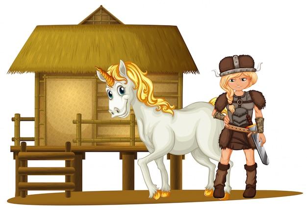 Vichingo femminile e unicorno dalla capanna di legno