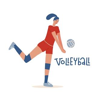 Carattere dell'atleta femminile di volley che gioca con il simbolo di sport del campionato del giocatore di pallavolo della palla...