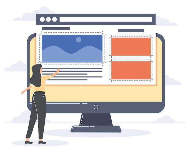 Web designer femminile che utilizza il desktop