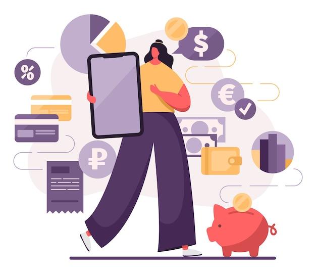 Donna con uno smartphone che esegue operazioni finanziarie, acquisti, pagamenti. modello di app per dispositivi mobili.